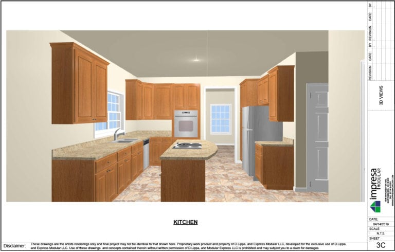 Express Modular Franchise Drafting Design Tools - kitchen rendering