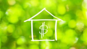 Drawing of Home with dollar sign over a green background